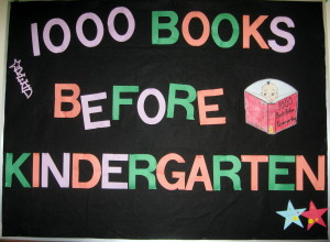 1000 Books Before Kindergarten bulletin board