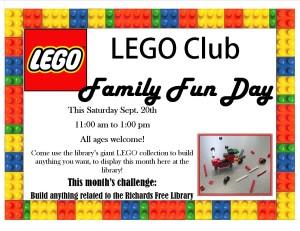 Lego Club Family fun day poster